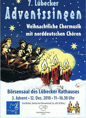 Plakat vom 7. Adventssingen im Lübecker Rathaus